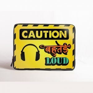 caution bahutai loud laptop sleeve
