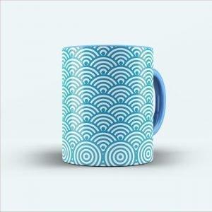 blue illustrate printed mug