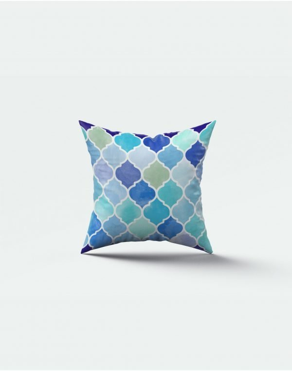 blue magenta print cushion