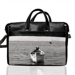 black and white boat laptop bag