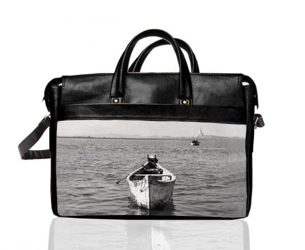 black and white boat laptop bag