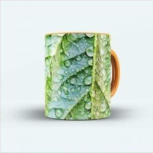Raindrops leaf mug