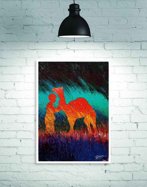rajasthan camel painting wall poster