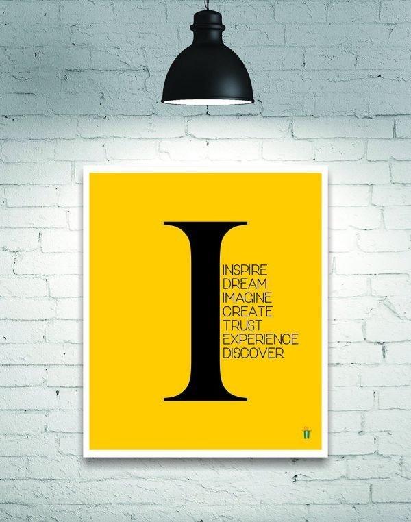 yellow inspire dream imagine wall poster