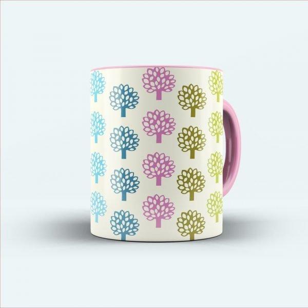 multicolour printed tree mug