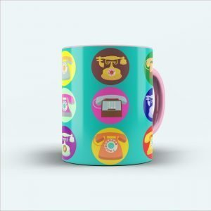 telephone multicolor printed mug