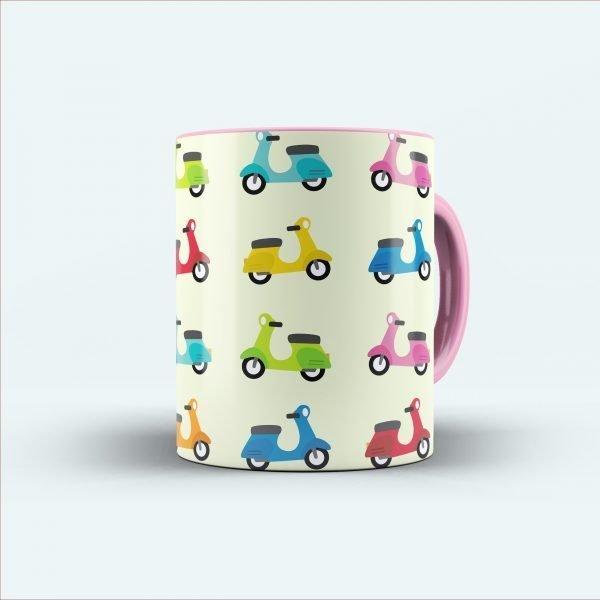 scooter multicolor printed mug