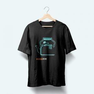 chai printed black t shirt