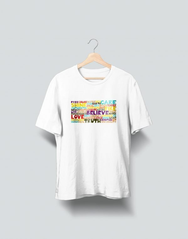colourfull quote printed white t shirt