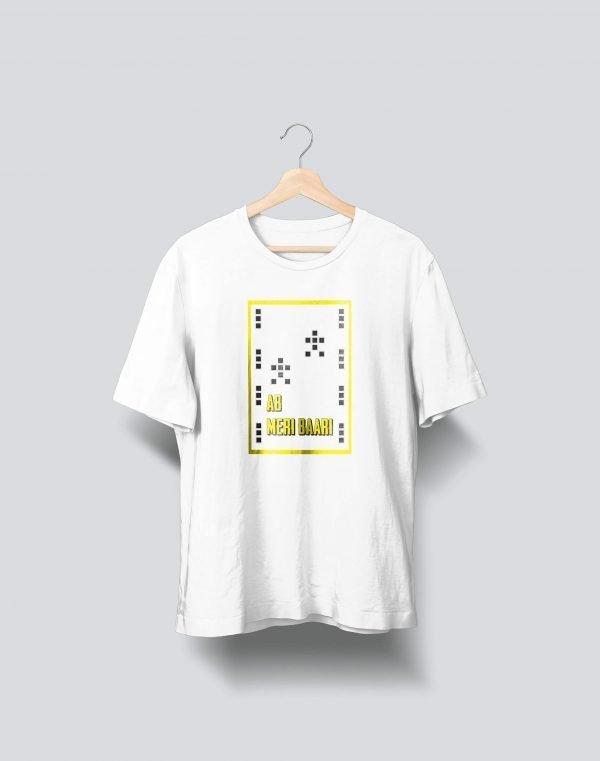 white yellow printed t shirt