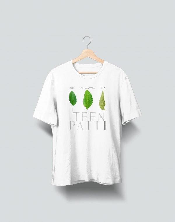 teen patti white t shirt green leaf