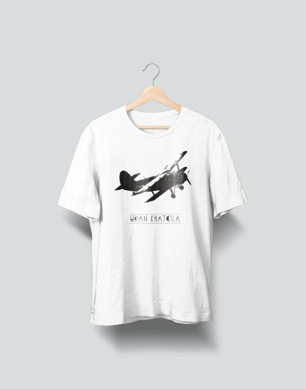 airplane printed white t shirt