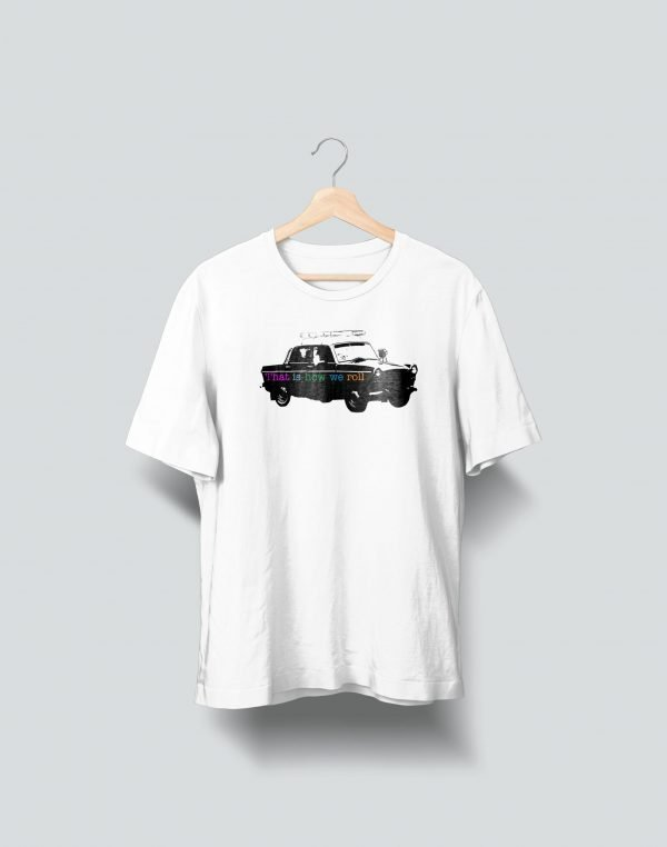 car printed white tees