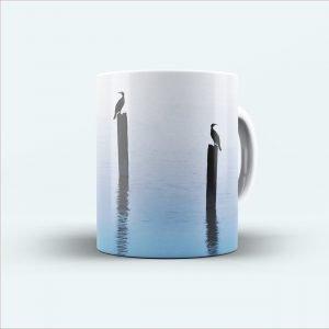 bird printed white mug