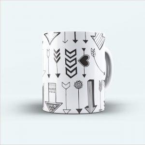 black arrow printed white mug