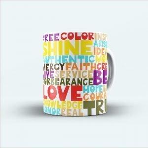love shine color printed colourful mug