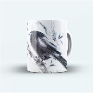 black bird scatch printed mug