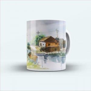 Indian village painting printed mug white