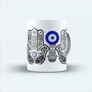 mehandi printed white mug