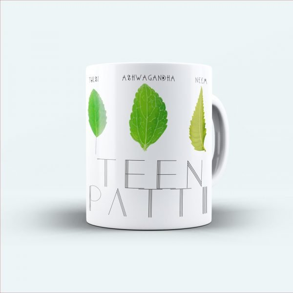 teen patti green leaf printed mug