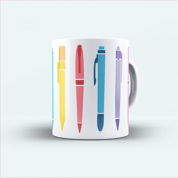 pen printed multicolour mug